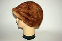 Женская норковая шапка с небольшим козырьком