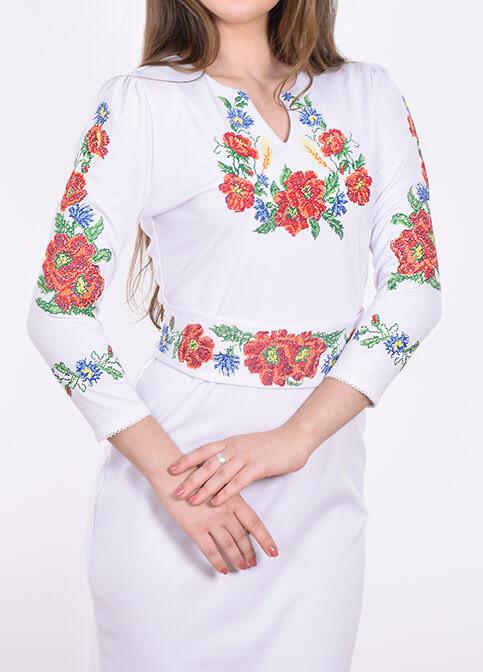 Трикотажное платье с вышивкой крестиком