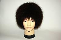 Женская вязаная меховая шапка (енот)