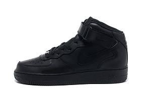 Мужские кроссовки Nike Air Force 1 High черные топ реплика, фото 2