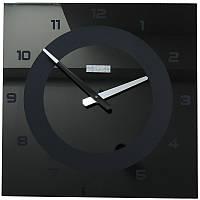 Часы настенные стеклянные 40х40 см CLASSIC с цифрами черные [Стекло, Открытые]