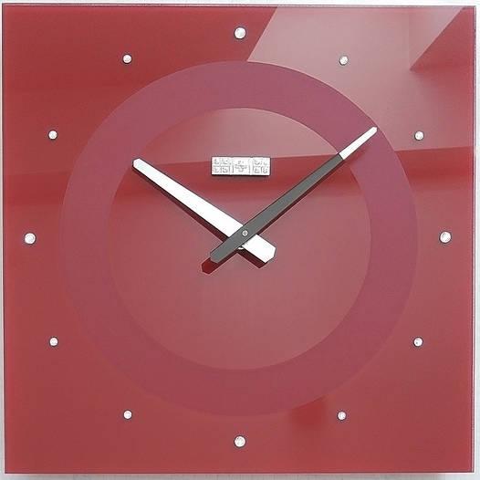 Часы настенные стеклянные 40х40 см LUX с камнями красные [Стекло, Открытые]