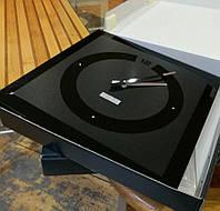 Необычные настенные часы 40х40 см Sklo+Glas PREMIUM с камнями и фацетом черные [Стекло]