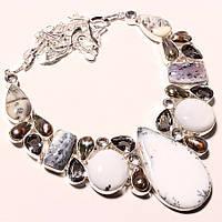 Колье, ожерелье из натурального  МОХОВОГО ОПАЛА, КВАРЦА, ЖЕМЧУГА МАБЕ (БИВА)