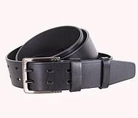 Добротный мужской кожаный ремень под джинсы 4 см черный