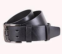 Надежный мужской кожаный ремень под джинсы 4 см черный