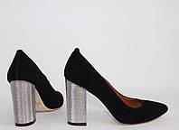 Женские туфли  с  заостренным носком на толстом каблуке. Возможен отшив в других цветах кожи и замша, фото 1
