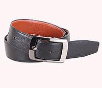Стильный кожаный ремень двухсторонний под джинсы 3,3 см черный-рыжий