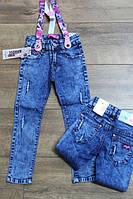 Джинсы для девочек с подтяжками  4- 12 лет