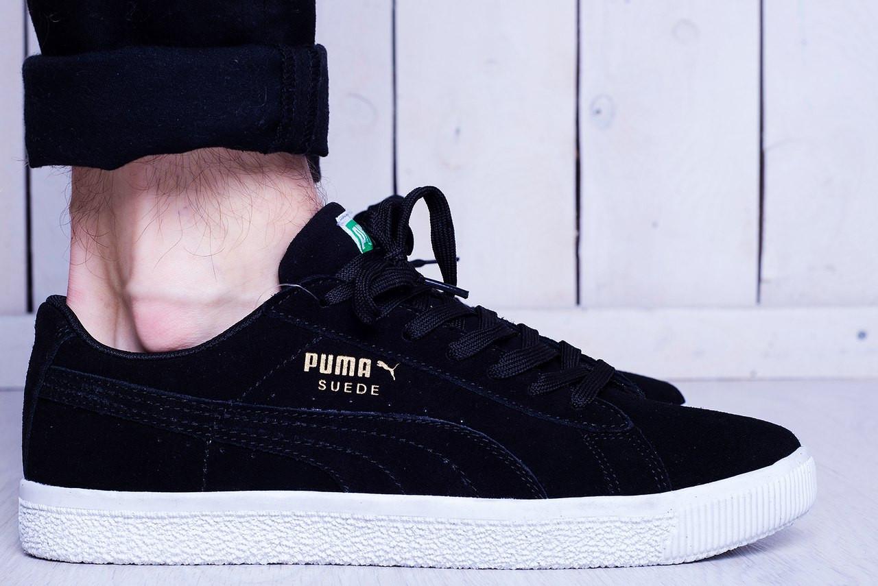 Мужские кеды Puma Suede черные с белой подошвой топ реплика