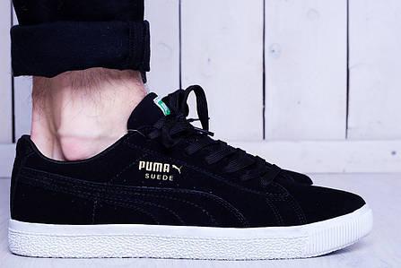Мужские кеды Puma Suede черные с белой подошвой топ реплика, фото 2