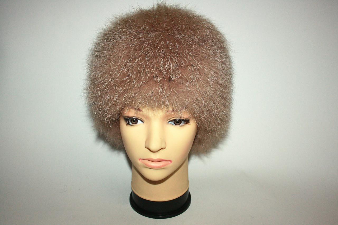Меховая шапка (енот) светло-розовая