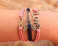 Кожанный винтажный браслет Париж розового цвета