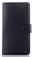 Кожаный чехол книжка для  Nokia Lumia 640 черный