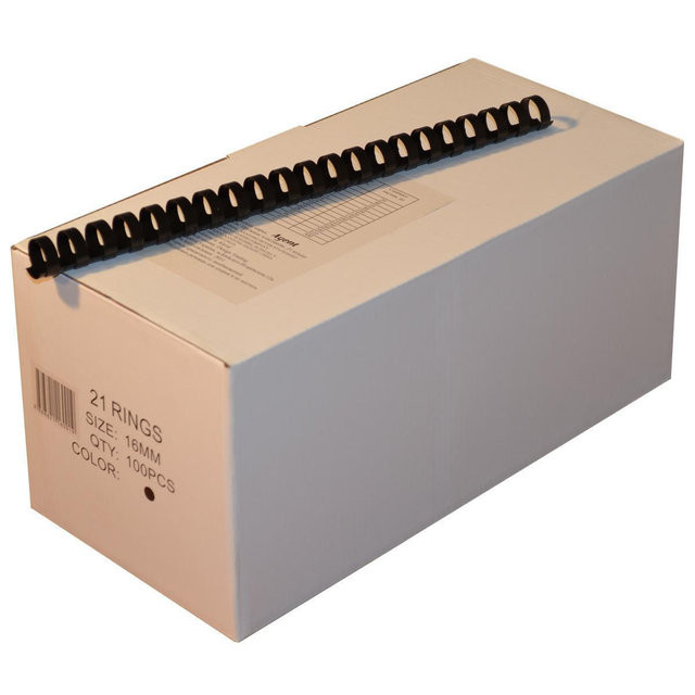 Пружины пластиковые 16 мм чёрные, 100 шт/уп., 120-135 листов.