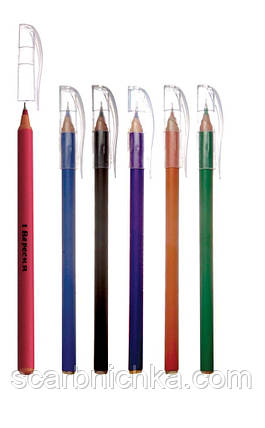 """Ручка шариковая """"1 Вересня"""" масляная синяя """"Plaza Pine"""" 411052, фото 2"""