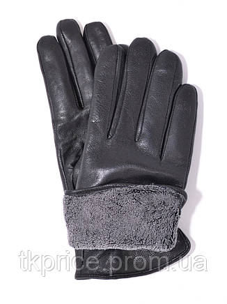 Подростковые кожаные перчатки на махровой подкладке, фото 2