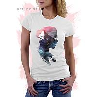 Женская белая футболка с рисунком LANDSCAPE