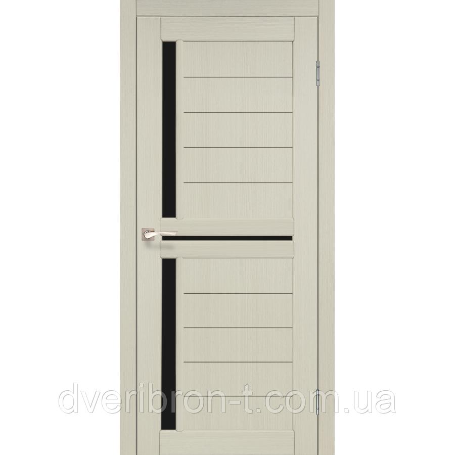 Двери Корфад Scalea SC-04 беленый дуб черное стекло