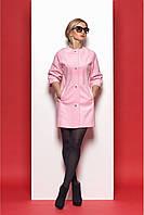 Стильное женское пальто в стиле «Шанель» розового цвета