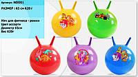 Мяч для фитнеса ND001 рожки мультгерои (5видов,5цветов) 65см 620г