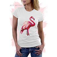 Футболка белая женская с принтом Фламинго