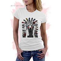 Женская белая футболка с рисунком INDIAN BEAR