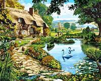 Картина для рисования по номерам Коттедж у озера