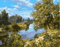 Картина для рисования по номерам Пейзаж с речкой