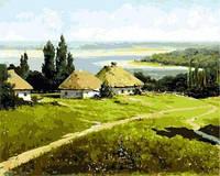 Картина для рисования по номерам Украинский пейзаж с хатами