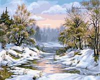 Картина для рисования по номерам Заснеженная речка