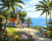 Картина для рисования по номерам Часовня в тропиках