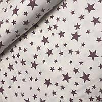 Фланель коричневый  звездопад на молочном фоне(№500)