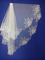 Свадебная фата с компьютерной вышивкой № 2 (Ф-КВ-Оп-2)