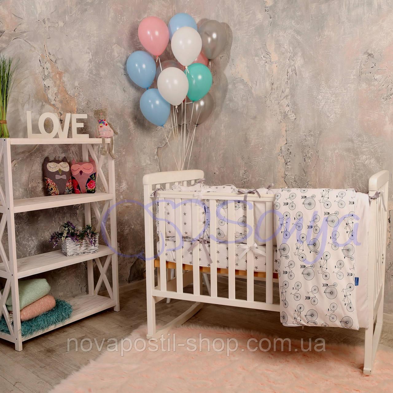 Набор в детскую кроватку Baby Design велосипеды (6 предметов)