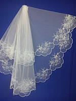 Свадебная фата с компьютерной вышивкой № 3 (Ф-КВ-Оп-3)