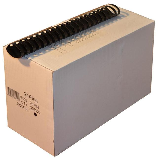 Пружины пластиковые 38 мм чёрные, 50 шт/уп., 280-340 листов.