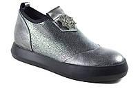 Мокасины туфли кожаные женские FIRAGEMA серебро