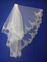 Свадебная фата с компьютерной вышивкой № 9 (Ф-КВ-Оп-9)