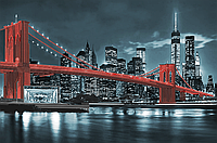 """Картина под вышивку бисером """"Бруклинский мост"""" красный"""