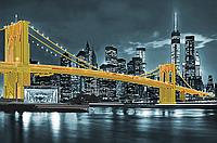 """Картина под вышивку бисером """"Бруклинский мост"""" жёлтый"""