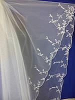Свадебная фата с компьютерной вышивкой № 12 (Ф-КВ-Оп-12) Опт