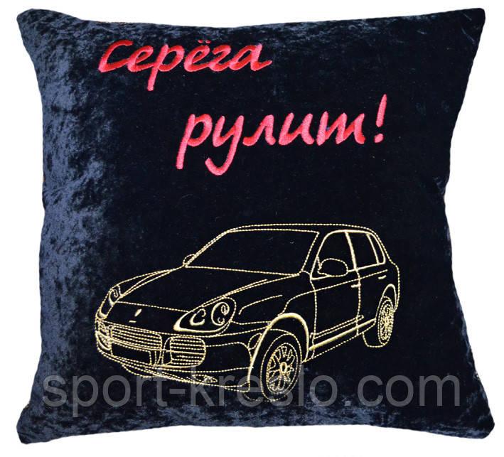 Автомобільна подушка з вишивкою силуету логотипу машини