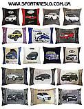 Автомобильная подушка с вышивкой силуэта логотипа машины, фото 6