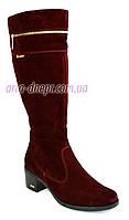 Демисезонные бордовые замшевые сапоги, женские, на устойчивом каблуке.