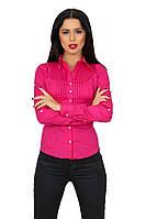 Стильная женская рубашка,рукав трансформер,ткань хлопок,цвет малина,голубой,желтый