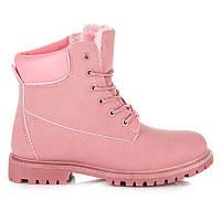 Розовые женские ботинки тимберленды демисезонные