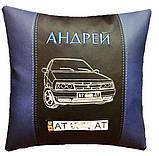 Автомобільна подушка сувенір з вишивкою силуету машини в подарунок машину, фото 5