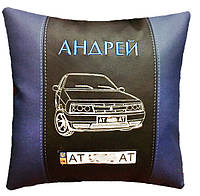 Автомобильная подушка сувенир  с вышивкой силуэта машины подарок в машину, фото 1