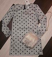Платье туника с меховой сумочкой для девочки.128р.